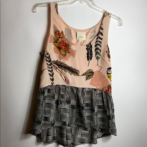 Anthropologie Maeve Finely Feathered Tank Size 10
